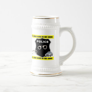 Cerveza Stein de la escena del crimen del oficial  Tazas De Café