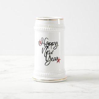Cerveza Stein de la Feliz Año Nuevo Jarra De Cerveza