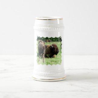 Cerveza Stein de la imagen del búfalo Taza