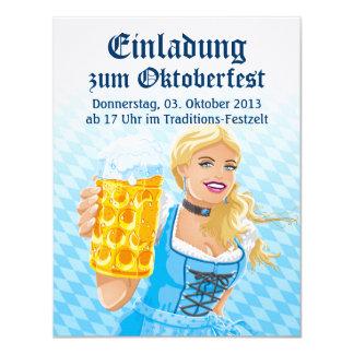 """Cerveza Stein de la mujer del Dirndl de Invitación 4.25"""" X 5.5"""""""