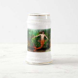 Cerveza Stein de la natación del Merman Jarra De Cerveza
