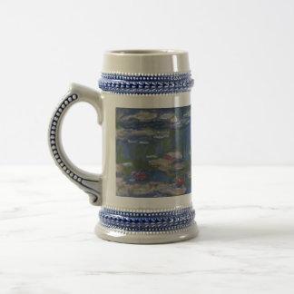 Cerveza Stein de la taza de los lirios de agua de