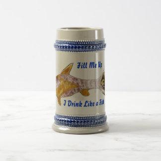 Cerveza Stein de los pescados de Sun Jarra De Cerveza