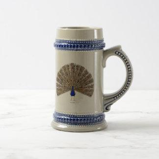 Cerveza Stein del azul de pavo real Taza