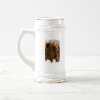 Cerveza Stein del diseño del caballo de la castaña Taza De Café