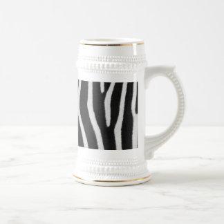 Cerveza Stein del modelo de la raya de la cebra Tazas De Café