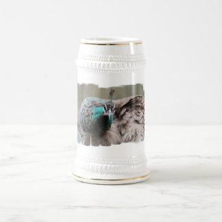 Cerveza Stein del pavo real de Brown Taza