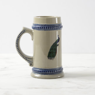 Cerveza Stein del pavo real del azul francés del v Taza De Café