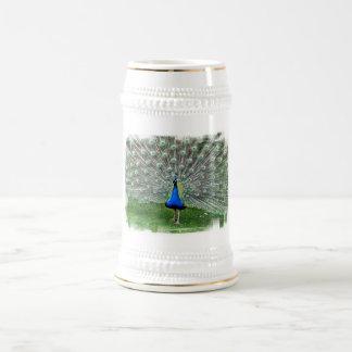 Cerveza Stein del penacho del pavo real Tazas De Café