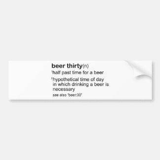 Cerveza treinta pegatina de parachoque