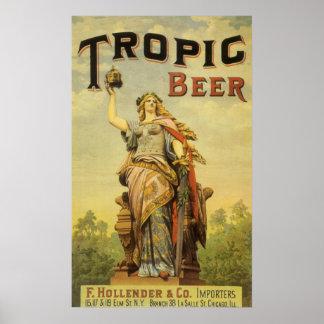 Cerveza tropical Stein de la mujer del arte de la  Impresiones