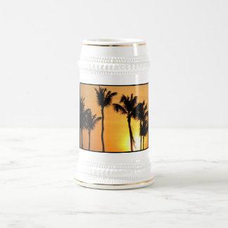 Cerveza tropical Stein de la puesta del sol Tazas De Café