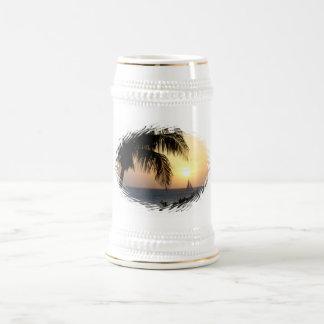 Cerveza tropical Stein de la vela de la puesta del Tazas