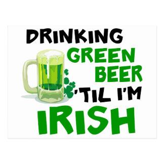 Cerveza verde de consumición 'hasta que soy el irl tarjetas postales
