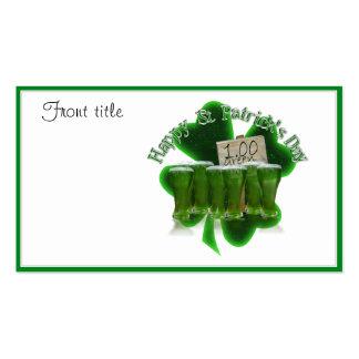 Cerveza verde para un dólar con el trébol tarjetas de visita