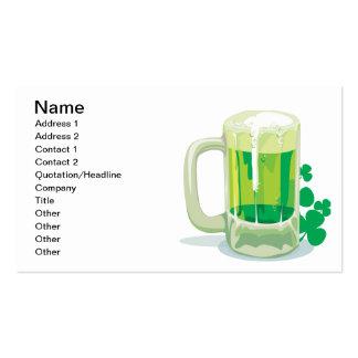 Cerveza verde tarjetas de visita