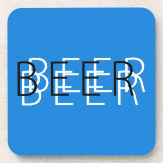 CERVEZA Vision doble - azul, blanco y negro Posavasos De Bebidas