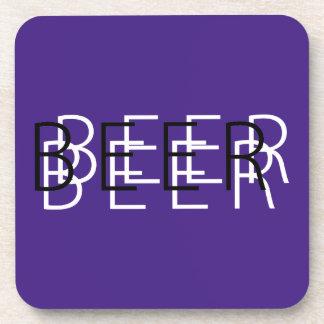 CERVEZA Vision doble - blanco y negro púrpura Posavasos