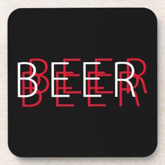 CERVEZA Vision doble - negro, rojo y blanco Posavasos De Bebida