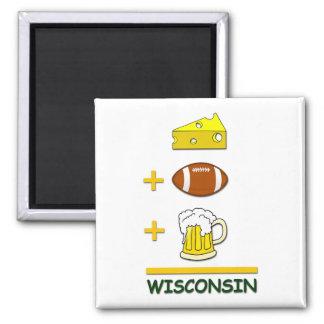 Cerveza Wisconsin del fútbol del queso Imán Cuadrado