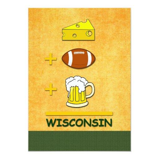 """Cerveza Wisconsin del fútbol del queso Invitación 5"""" X 7"""""""