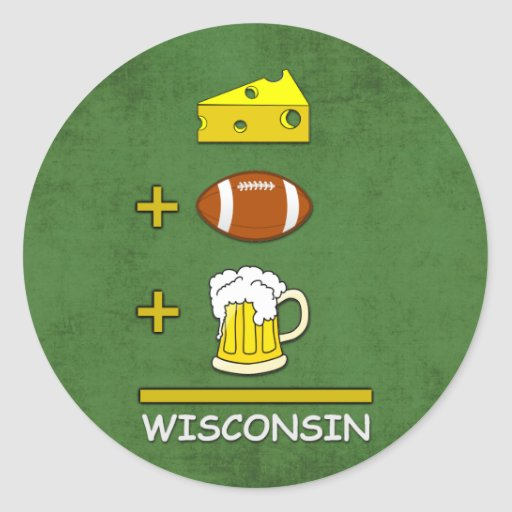 Cerveza Wisconsin del fútbol del queso Pegatina Redonda