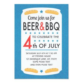 Cerveza y Bbq 4ta de la invitación del fiesta de Invitación 11,4 X 15,8 Cm