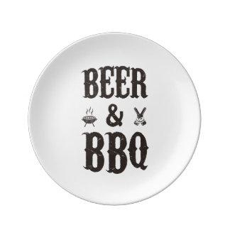 Cerveza y Bbq Plato De Cerámica