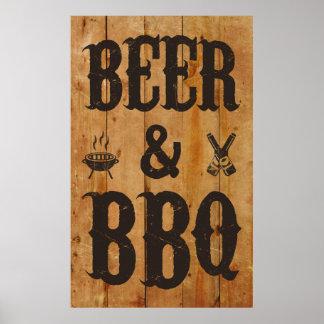 Cerveza y Bbq Póster