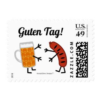 ¡Cerveza y Bratwurst - etiqueta de Guten! Estampillas