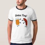 ¡Cerveza y Bratwurst - etiqueta de Guten! - Foodie Playera