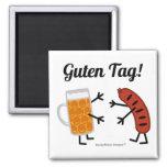 ¡Cerveza y Bratwurst - etiqueta de Guten! Imán Cuadrado