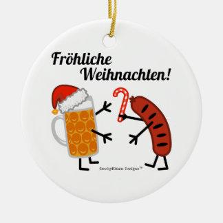 ¡Cerveza y Bratwurst - Fröhliche Weihnachten! Adorno Redondo De Cerámica