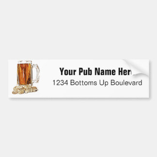 Cerveza y cacahuetes pegatina de parachoque