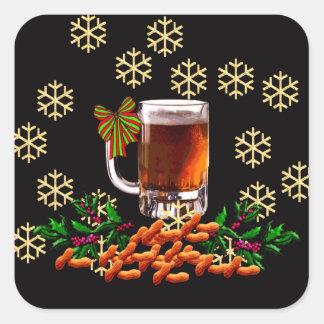 Cerveza y cacahuetes pegatina cuadrada