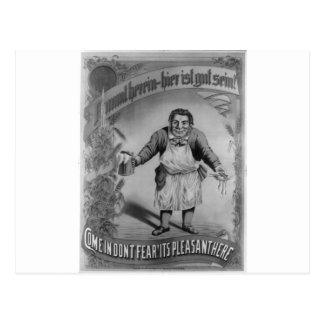 Cerveza y comida 1887 tarjeta postal