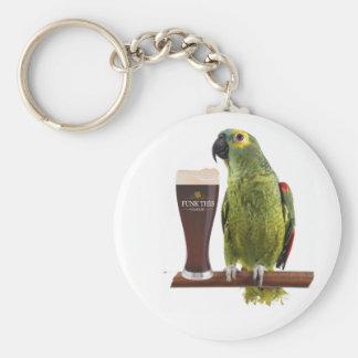 Cerveza y loro llavero redondo tipo pin