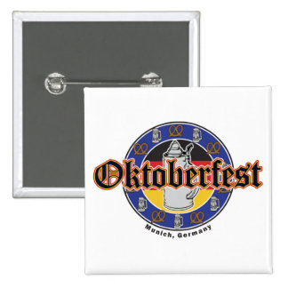 Cerveza y pretzeles de Oktoberfest Pin Cuadrada 5 Cm