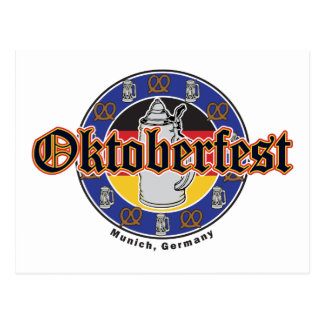 Cerveza y pretzeles de Oktoberfest Postal