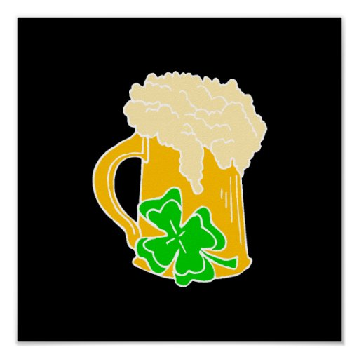 Cerveza y trébol irlandeses posters