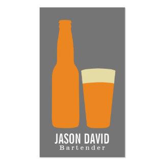 Cerveza y vidrio (naranja) tarjetas de visita