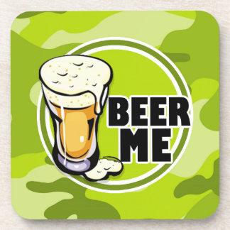 ¡Cerveza yo!  camo verde claro, camuflaje Posavasos De Bebida