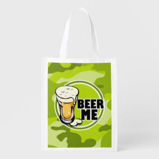 ¡Cerveza yo!  camo verde claro, camuflaje Bolsa De La Compra