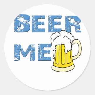 cerveza yo divertido etiqueta redonda