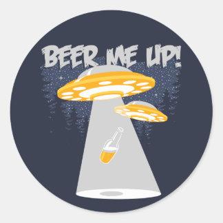 ¡Cerveza yo para arriba! Pegatina Redonda