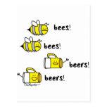 ¡Cervezas de las cervezas de las abejas de las abe Tarjetas Postales