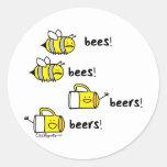 ¡Cervezas de las cervezas de las abejas de las Pegatina Redonda