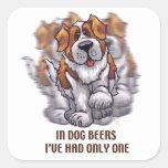 Cervezas St Bernard del perro Calcomanía Cuadradas Personalizada