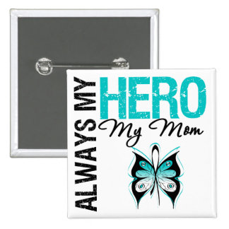 Cervical Cancer Always My Hero My Mom 2 Inch Square Button