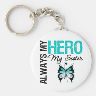 Cervical Cancer Always My Hero My Sister Basic Round Button Keychain